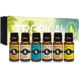 Tropical Gift Set of 6 Premium Grade Fragrance Oils - Coconut Cream, Bay Rum, Pina Colada, Tahitian Vanilla, Ocean…