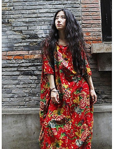 PU&PU Robe Aux femmes Ample Vintage , Fleur Col Arrondi Maxi Lin , red-one-size , red-one-size