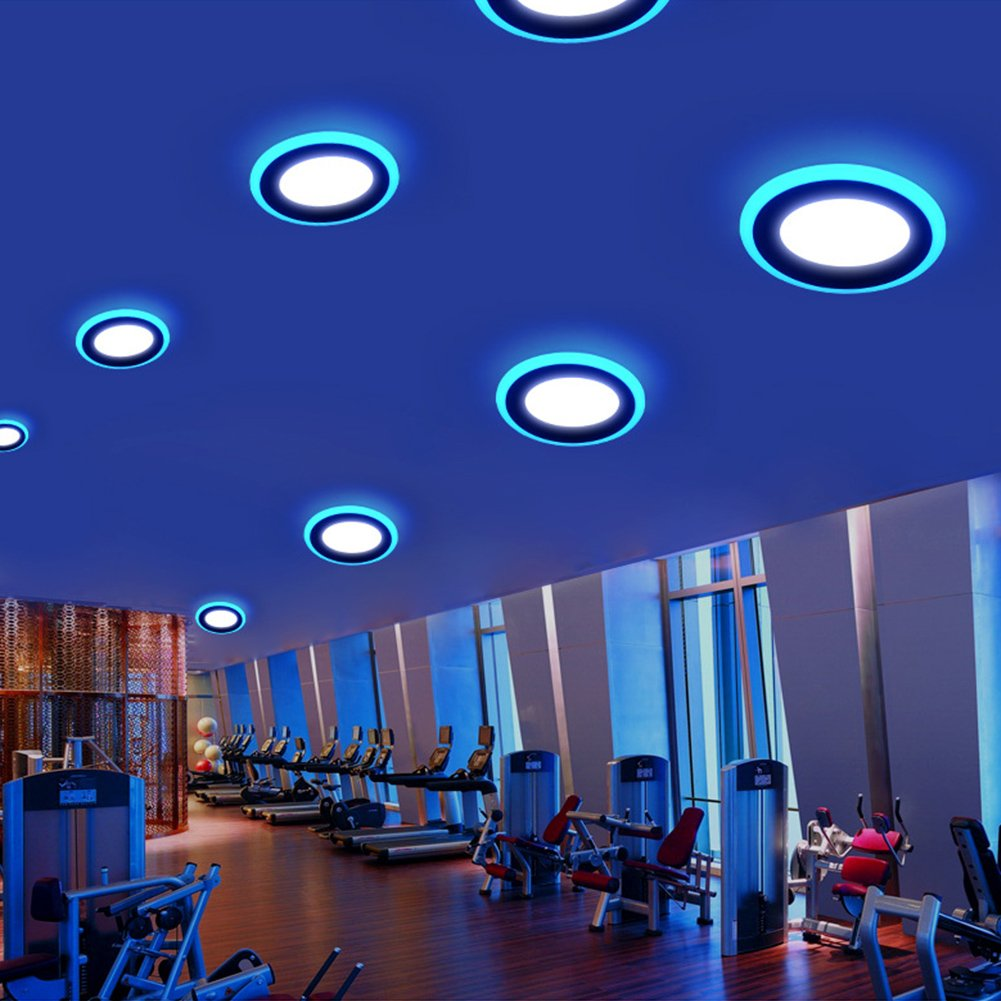 Led Panel Light,BOLXZHU Led Ceiling Lights Round Double Color ,Ultrathin Led Recessed Lighting, 2 Pack 3+2 Cool White+Blue W Outer Diameter:105MM,Hole Size:70MM,6000-6500K,Led Downlights