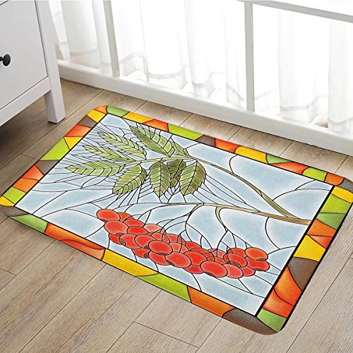 Christmas door mat indoors Rowan Branch Motif on a Stained Glass Frame Noel Season Berries Winter Theme Customize Bath Mat with Non Slip Backing16