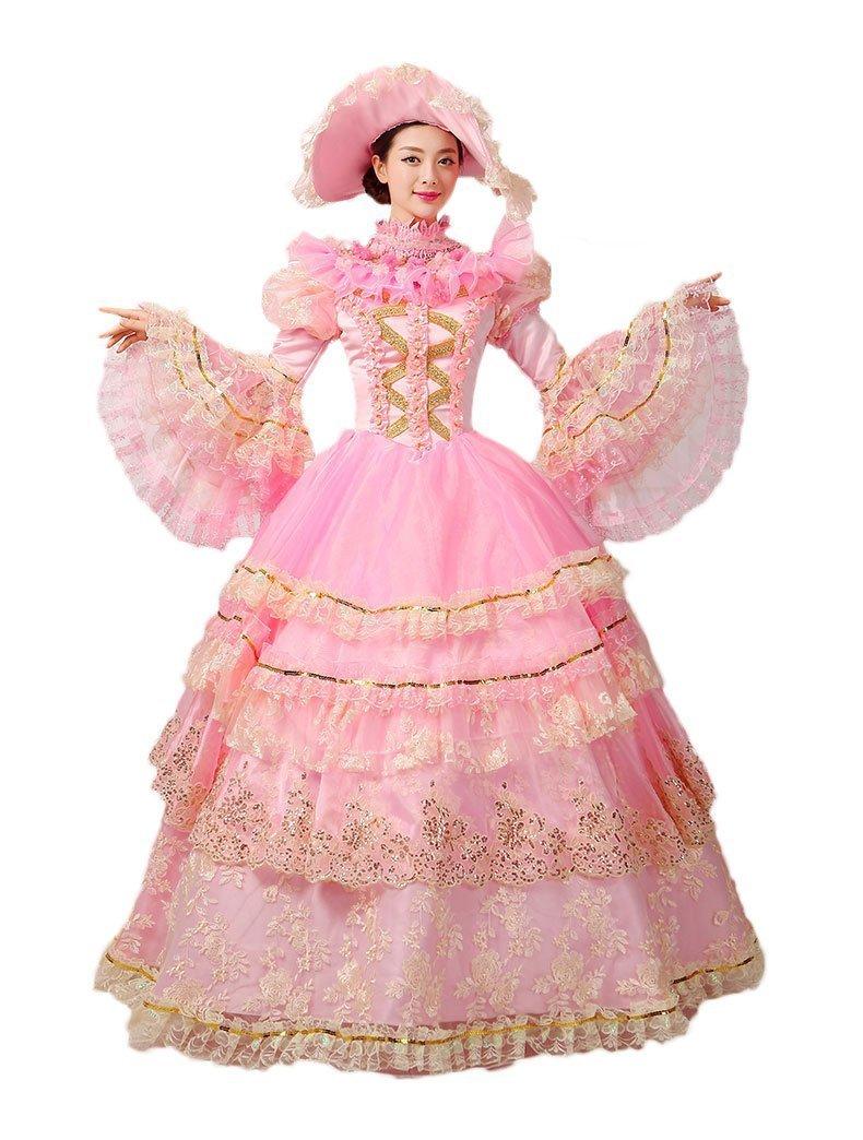 Zukzi Women's Standing Collor Layered Lolita Dresses Wedding Costumes US 16 Pink