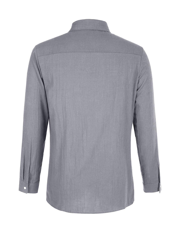ThusFar Men\'s Button Up Linen Shirts - Summer Long Sleeve Button Down Hippie Shirts X-Large Grey