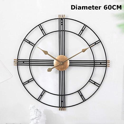 ZHONGBIAO Relojes De Pared-Jardín Reloj De Pared Grande-Barra De País Europea Número Romano Reloj De Metal De Cara Abierta 20 Pulgadas/Diámetro 60CM Diámetro 50CM,A-Diameter60CM: Amazon.es: Hogar