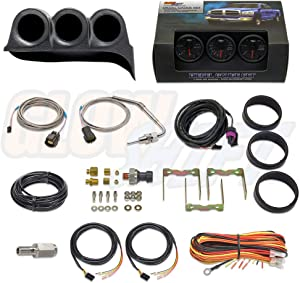 GlowShift Diesel Gauge Package for 1986-1993 Dodge Ram Cummins First 1st Gen - Black 7 Color 60 PSI Boost, 1500 F Pyrometer EGT & 30 PSI Fuel Pressure Gauges - Black Triple Dash Pod