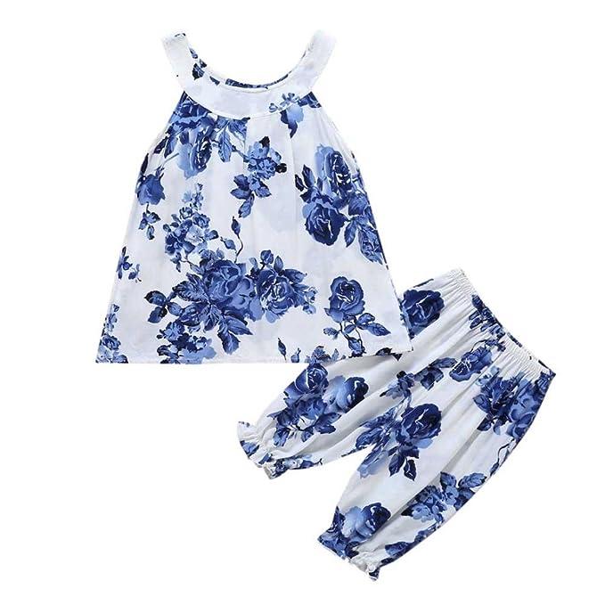 71f4ba65c Webla Toddler Kids Baby Girls Floral Print Beach Vest+Pants Pajamas ...