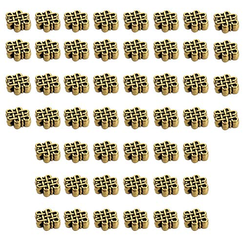 Knot Spacer - Mystart 50 Pcs 9x11mm Alloy Chinese Knot Beads Charms Spacer Beads DIY Bracelet Necklace Jewelry Findings (Antique Gold)