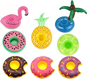 Inflatable Drink Holders,9 Pack Flamingo Plam Donut Fruit Inflatable Party Cup Holders,Party Supplies Pool Beach for Party Fun