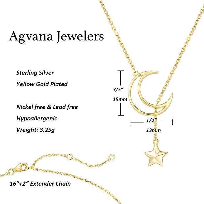 Femmes 14k Or Jaune Sur Argent Sterling Diamant étoile Lune Collier Tour de cou