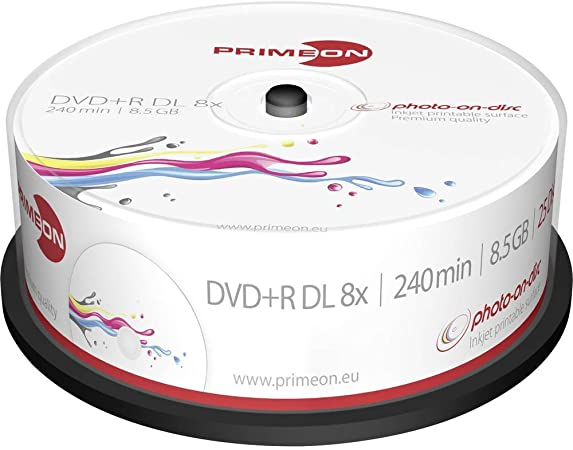 Primeon 2761252 DVD en Blanco 8,5 GB DVD+R DL 25 Pieza(s): Amazon ...
