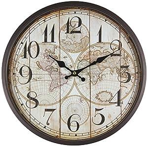 Perla PD Diseño Metal Reloj de pared con cristal vintage diseño mapamundi lacado color marrón oscuro aprox. Ø 30cm