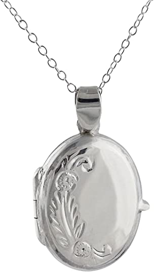 Best Quality Free Gift Box Sterling Silver Oval Floral Locket