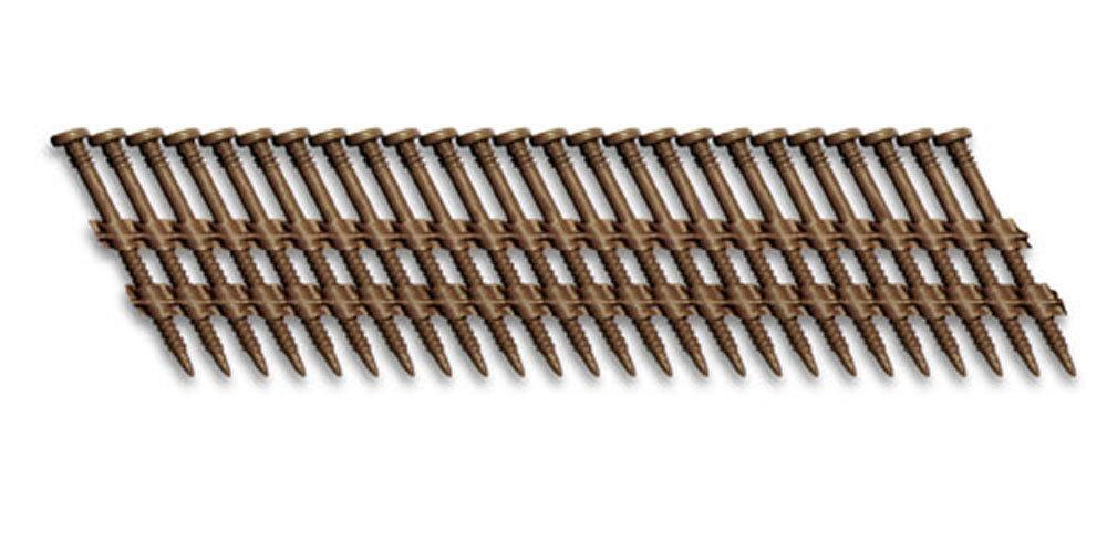 Fasco SCFP21220CTSEGBR Scrail Fastener  BeckDeck Thread 20-22-Degree Plastic Strip Saddle Brown Square Drive, 2.5-Inch x .120-Inch 1000 Per Box