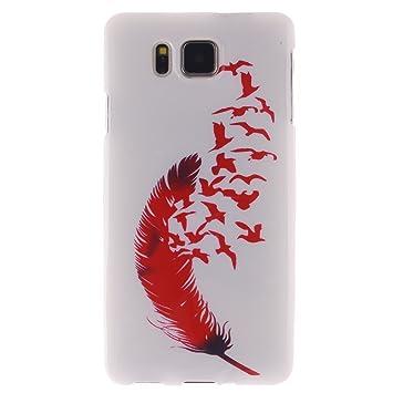 Guran® Silicona Funda Carcasa para Samsung Galaxy Alpha G850F Smartphone Case Bumper Shock TPU Cover-Pluma roja