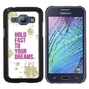 KLONGSHOP // Cubierta de piel con cierre a presión Shell trasero duro de goma Protección Caso - Motivación Oro Rosa Blanco - Samsung Galaxy J1 J100 //