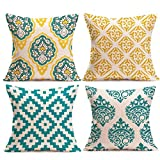 4Pcs Linen Sofa Printing Cushion Pillow Cases,Longaoa Fashion Home Decor Throw Pillow Covers Pillowcase Cotton for Sofa,Bed,Chair,Car 18''x18'' 45 x 45 Cm (4pc,18''x18'', C)