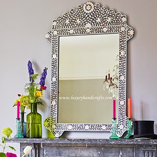 Mother of Pearl Inlay Floral Mirror - cute wall mirrors