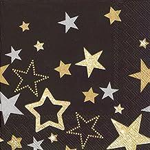 Ideal Home Range Lunch Napkins, Sparkling Stars Black