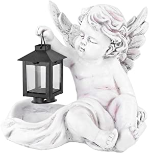 【???????????????????????? ???????????????????????????????????? ????????????????????】 Resin Solar Landscape Lamp, Yard Lamp, Garden Statue, Lawn Fairy Angel Light Decoration Sculpture Craft,Best Art Decor for Indoor Outdoor Home Or Office