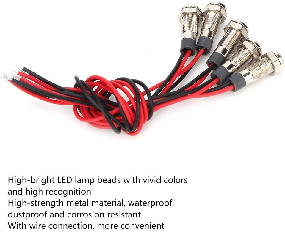 AC220V FTVOGUE 5Pcs LED Lamp IP66 6mm LED Water-Proof Metal Warning Light Power Indicator with Wire 1NO for Motorcycle Bicycle