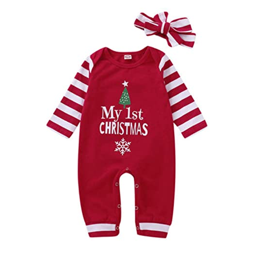 084a91488 Amazon.com: Christmas Newborn Baby Girls Clothes Round Neck Long Sleeve  Letter Print Romper Bow Striped Headband 2pc Kids Toddler Outfits: Clothing
