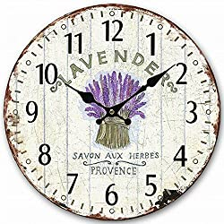 Wooden Wall Clock, Eruner 12-inch Vintage Inspired Kitchen Wall Clock Silent Bedroom Lounge Clock Country Clock for Dining Room Bar Cafe Lavender Floral Pattern