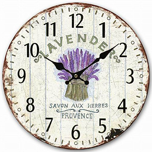 Wooden Wall Clock, Eruner 12-inch Vintage Inspired Kitchen Wall Clock Silent Bedroom Lounge Clock Country Clock for Dining Room Bar Cafe Lavender Floral Pattern (Resolution Wall Clock)