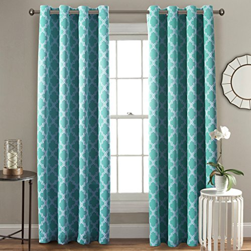 double window curtains closed flamingo room darkening moroccan tile quatrefoil blackout top grommet unlined thermal insulated window curtains set of two panels each 84 by 52 aqua double curtains in blue amazoncom