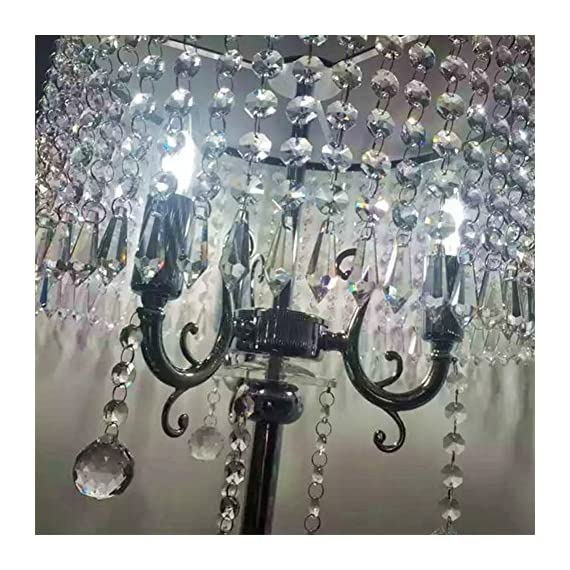 Hsyile Lighting KU300153 Elegant Designs Crystal Floor Lamp Chrome Finish,2 Lights - High Quality Raw Materials: Handpicked crystal,good light transmittance,throught a number of processes polished and refined. Size:13-Inch L x 13-Inch W x 59-Inch H (Need assembly and Easy to Install). 110V, 2 x 40Wattage Max, required E12 light bulb (bulb not included). Compatible with various types of E12 bulbs,such as incandescent,LED,CFL,halogen and Edison bulbs. ON/OFF switch located on cord,convenient to use. - living-room-decor, living-room, floor-lamps - 61Gcg4RI%2B8L. SS570  -