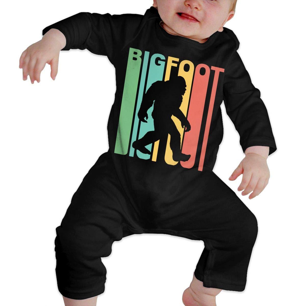Long Sleeve Cotton Rompers for Baby Girls Boys Cute Rainbow Bigfoot Silhouette Sleepwear