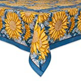 Couleur Nature Sunflower Tablecloth, 71-inches by 128-inches, Yellow/Blue