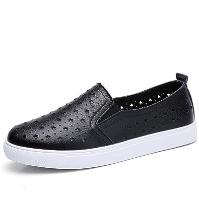 2f21f37efa965 HKR-LSJ6688-2heise35 Summer Women Loafers Slip On Hollow Sneakers Comfort  Ladies Leather Cut