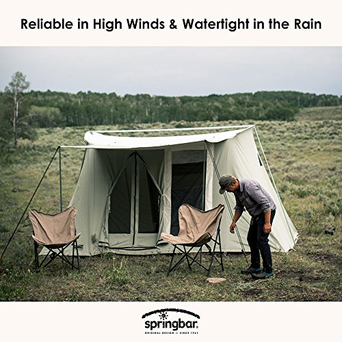 SPRINGBAR Highline 8, 10×14 Foot Canvas Tent, Water-Tight Cotton Canvas 8-Person Family Camping and Car Camping Tent