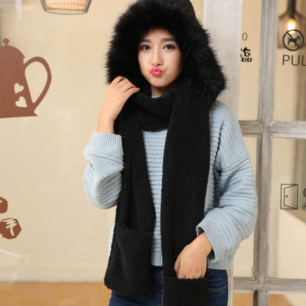 JIN 3 in 1 M/ütze Schal und Handschuhe Frauen M/ädchen Hoodie Winter Warm Soft Fluffy Themed Hat mit Mitten Pocket Gloves Weihnachtsgeburtstagsgeschenk,Black-1