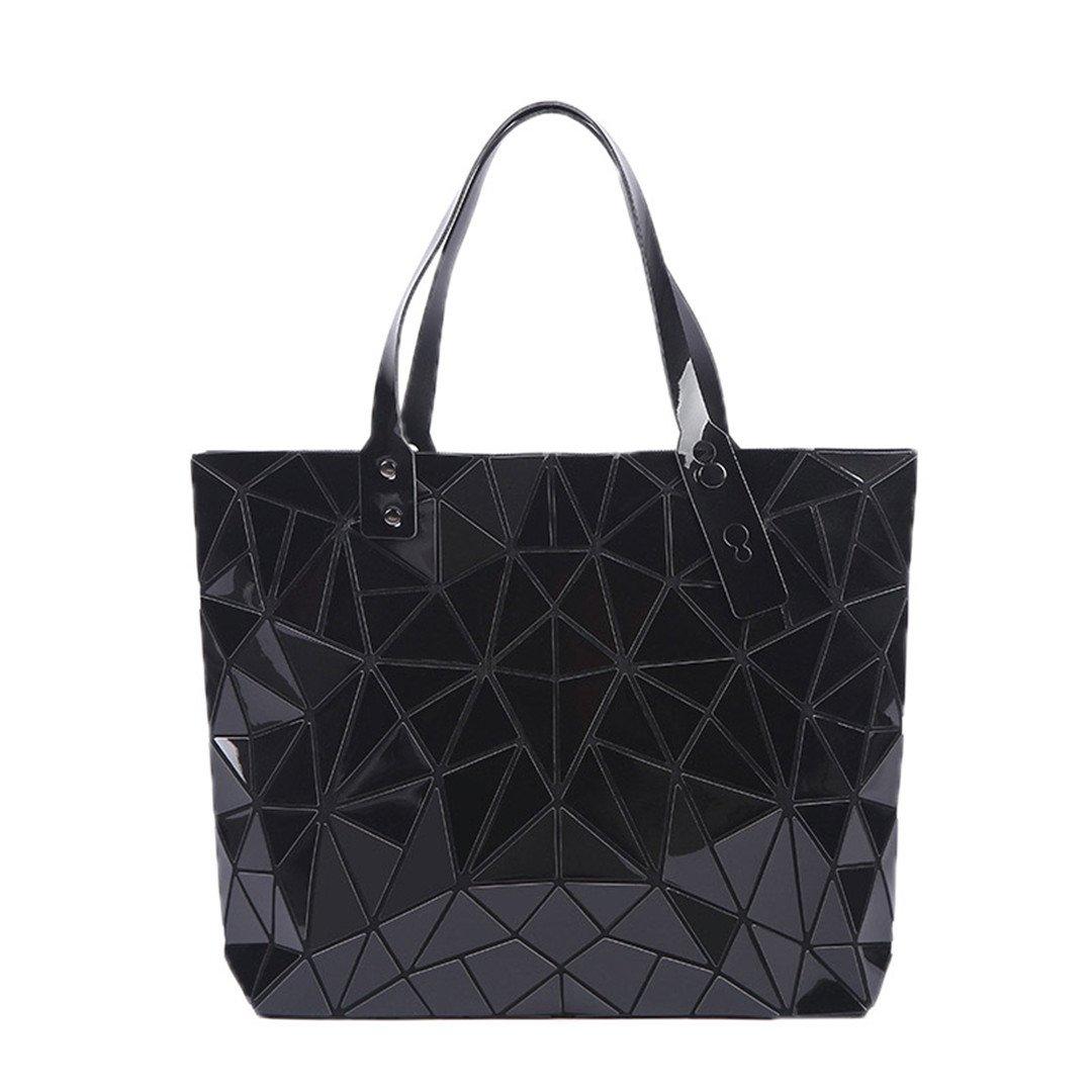 Shoulder Bags Women Handbag Female Folded Geometric Plaid Casual Tote Pu Messenger Bag Mochila Light Green