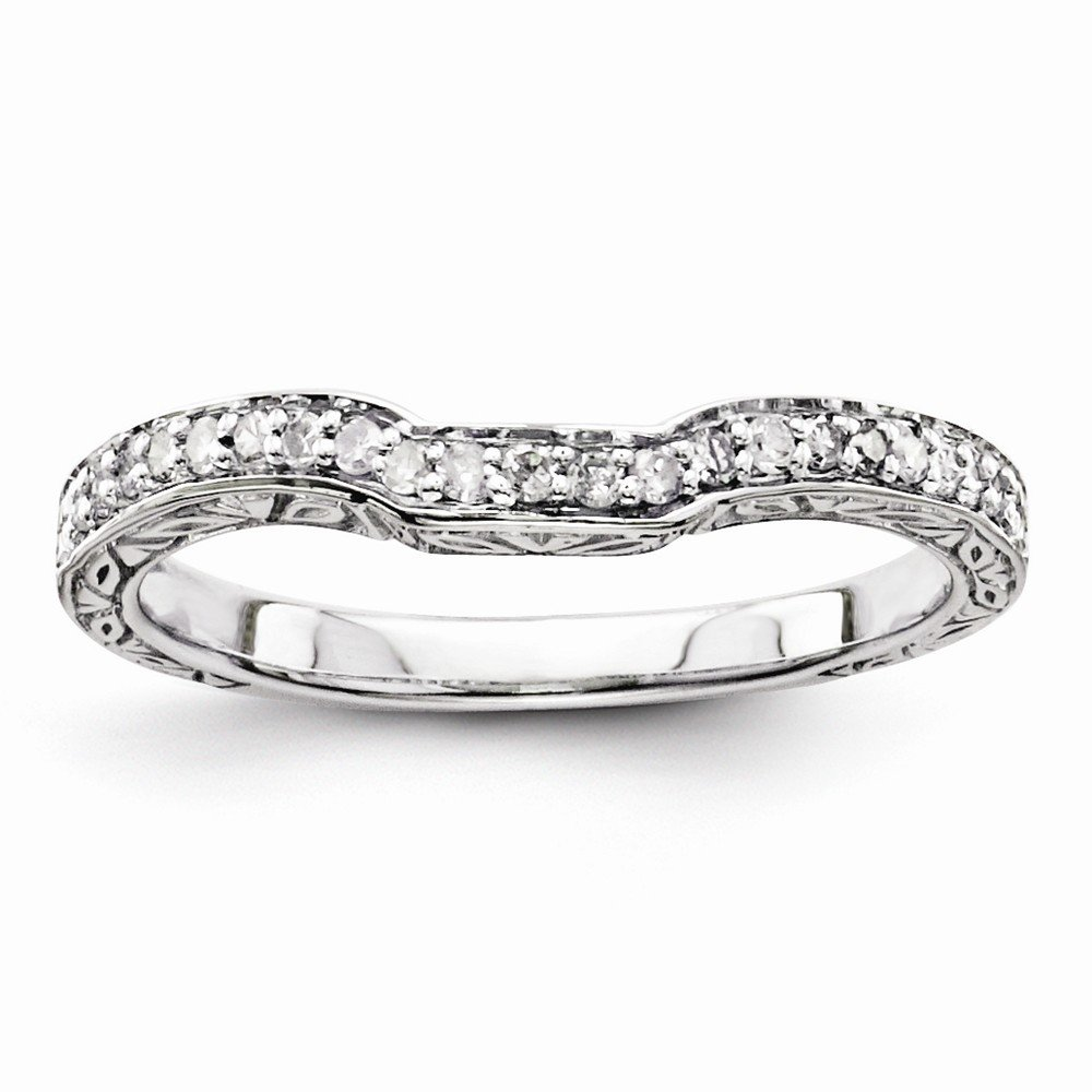 925 Sterling Silver Round Diamond Anniversary Wedding Band Size 7 For Women (0.15ct,H/SI)