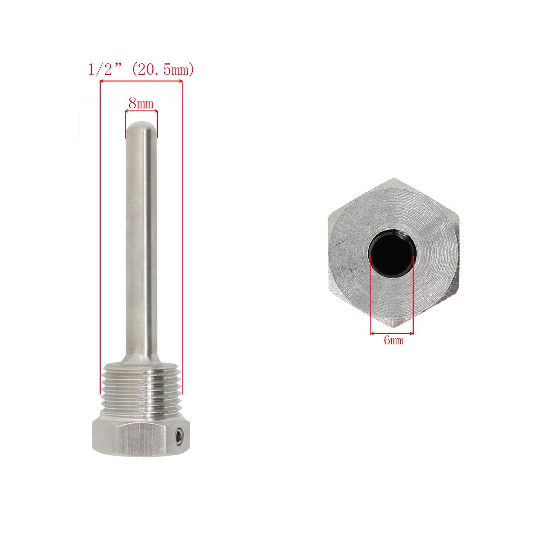 Immersion well pour sonde acier inoxydable 304 Doigt de gant /à visser avec vis de blocage immersion de 30mm 50mm 100mm 200mm 300mm 400mm 500mm 300mm 1//2 pouce