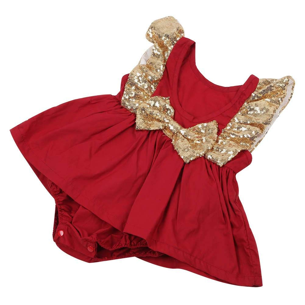 Newborn Flying Sleeve Soft Comfortable Cute Backless Infant Jumpsuit Outfits for Summer Baby Girl Romper 70-Red
