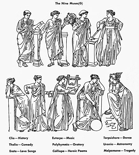 Nine Muses Nthe Nine Muses Of Greek Mythology Top Row Clio Muse Of History Thalia Muse Of Comedy Erato Muse Of Love Songs And Euterpe Muse Of Music Bottom Row Polyhymnia Muse Of Oratory And Poetry Cal