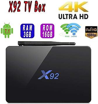 X92 3GB RAM 16GB ROM Android 7.1 TV Box Amlogic S912 Octa Core Soporte 2.4 / 5.0Ghz WiFi LAN Bluetooth 4K Smart Media Player: Amazon.es: Electrónica