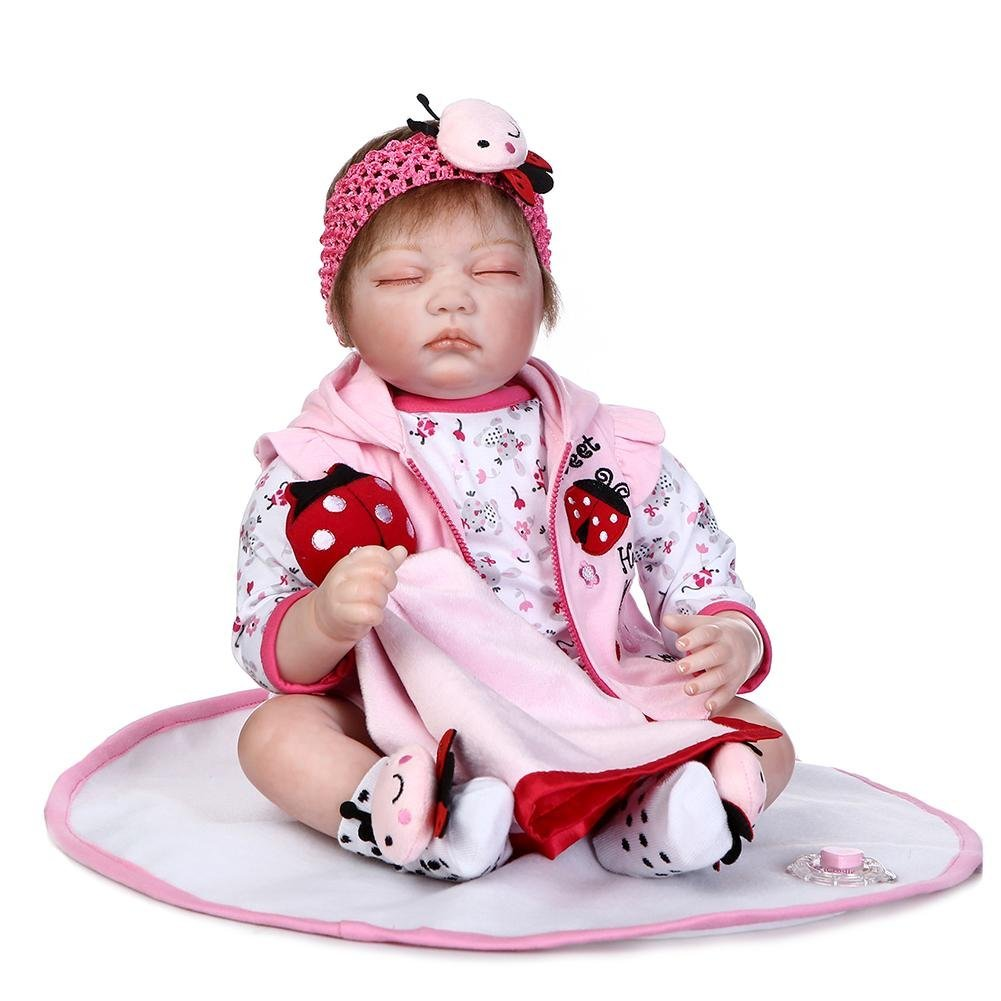 chinatera Kids Toys NPK Soft Silicone 3D Cute Artificial Realistic Reborn Baby Doll Cloth Dolls Kids Playmate