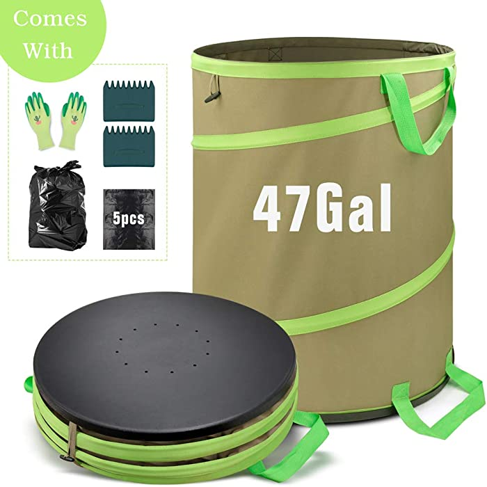 Colwelt 47 Gallon Leaf Bags Collapsible, Hardshell Bottom Heavy Duty Collapsible Garden Bag, Pop up Garden Waste Reusable Bag Include Leaf Scoop, Garden Gloves and Trash Bags
