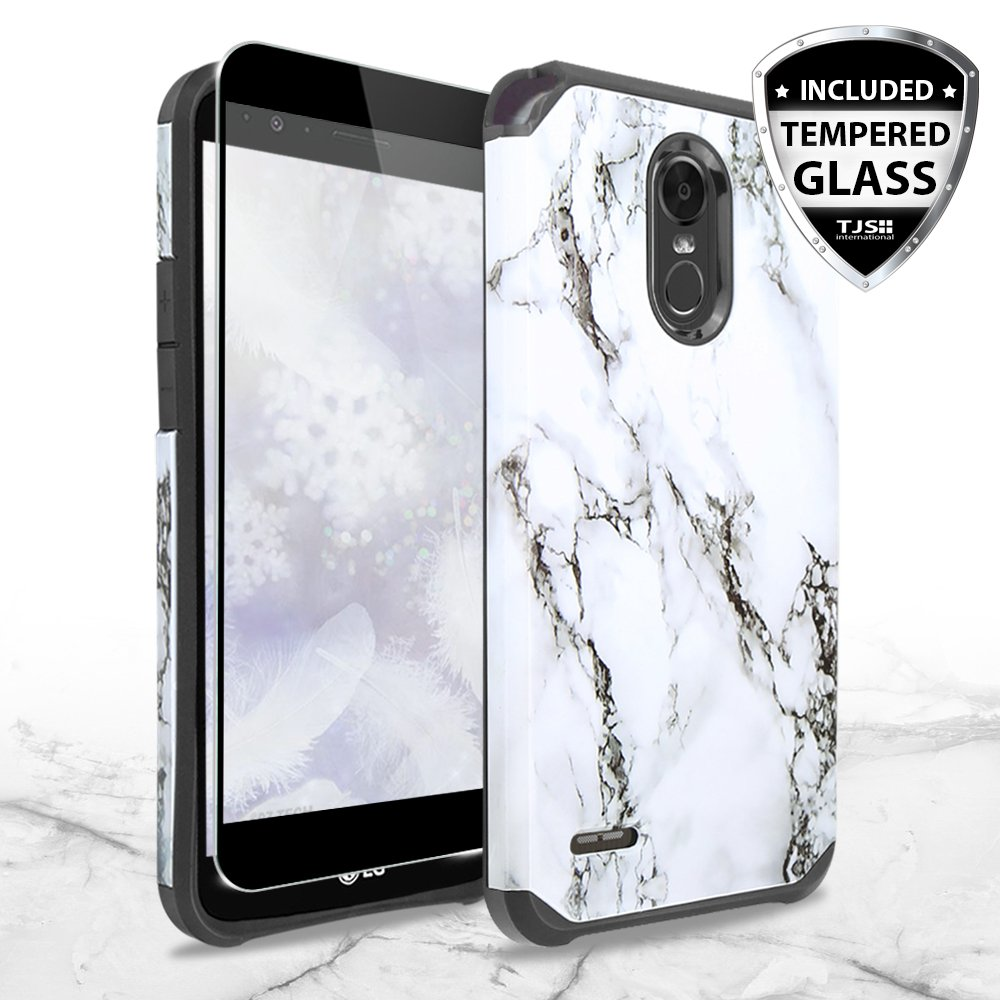 TJS LG Stylo 3 / LG Stylo 3 Plus Case, [Full Coverage Tempered Glass Screen Protector] Dual Layer Hybrid Shockproof Drop Protection Impact Rugged Marble Case Armor Cover (White)
