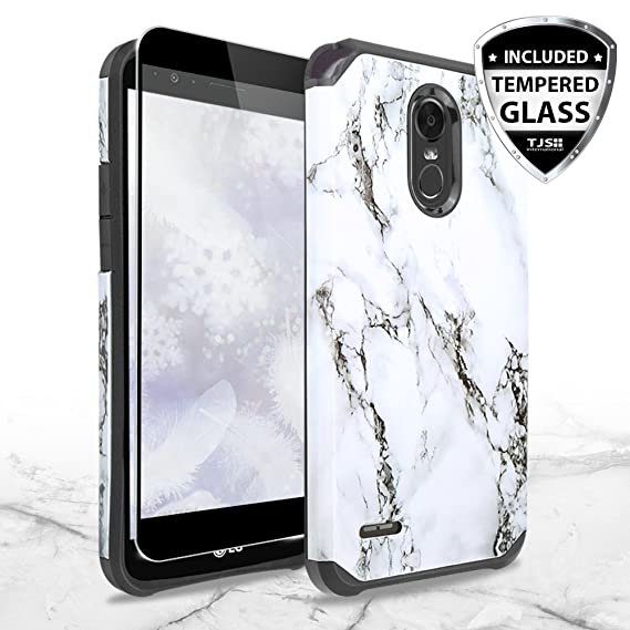 on sale b77b9 7314a TJS LG Stylo 3 / LG Stylo 3 Plus Case, [Full Coverage Tempered Glass Screen  Protector] Dual Layer Hybrid Shockproof Drop Protection Impact Rugged ...