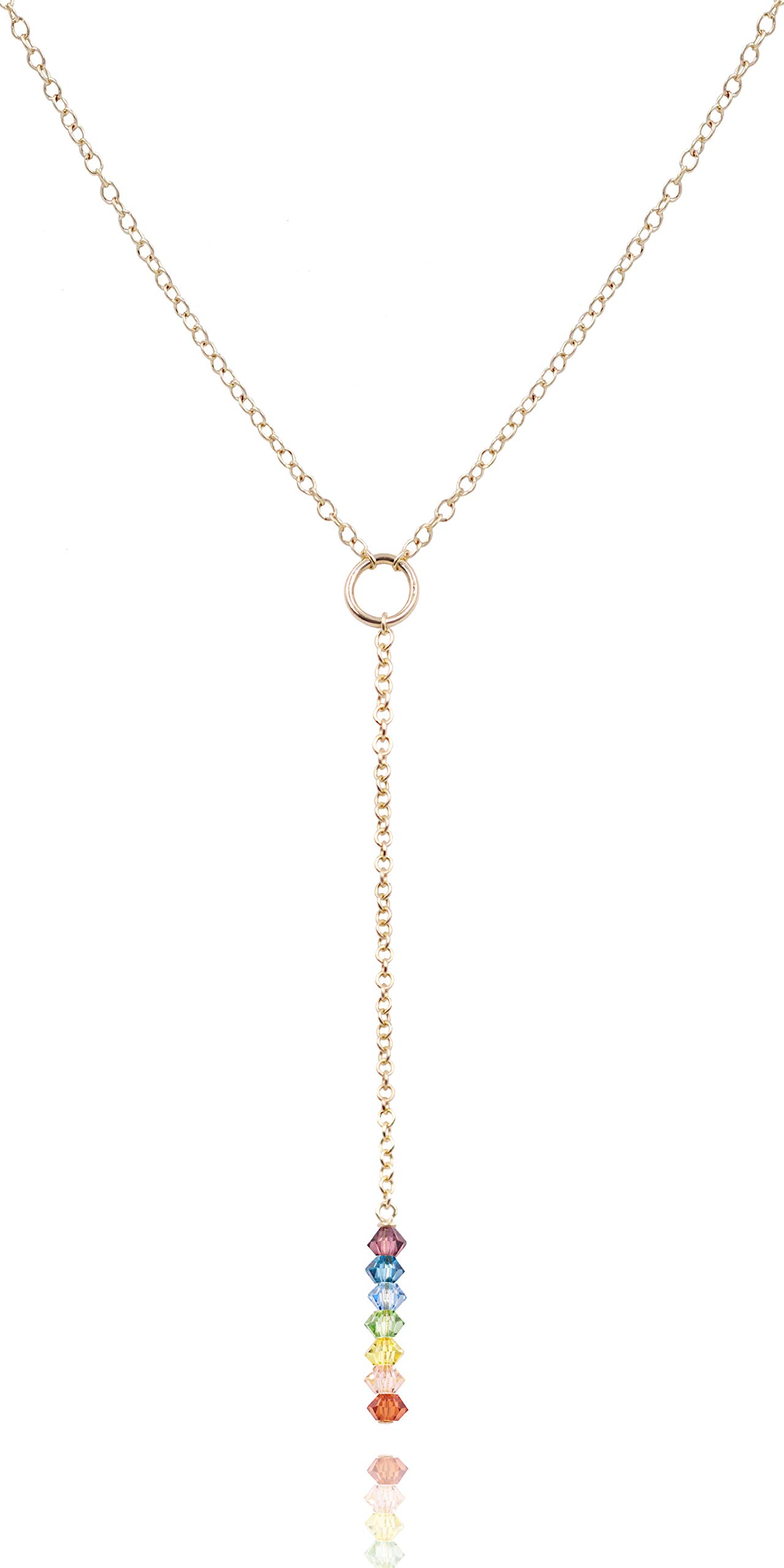MaeMae 14K Gold Filled Y Necklace 7 Chakras Lariat Necklace, 16-18''