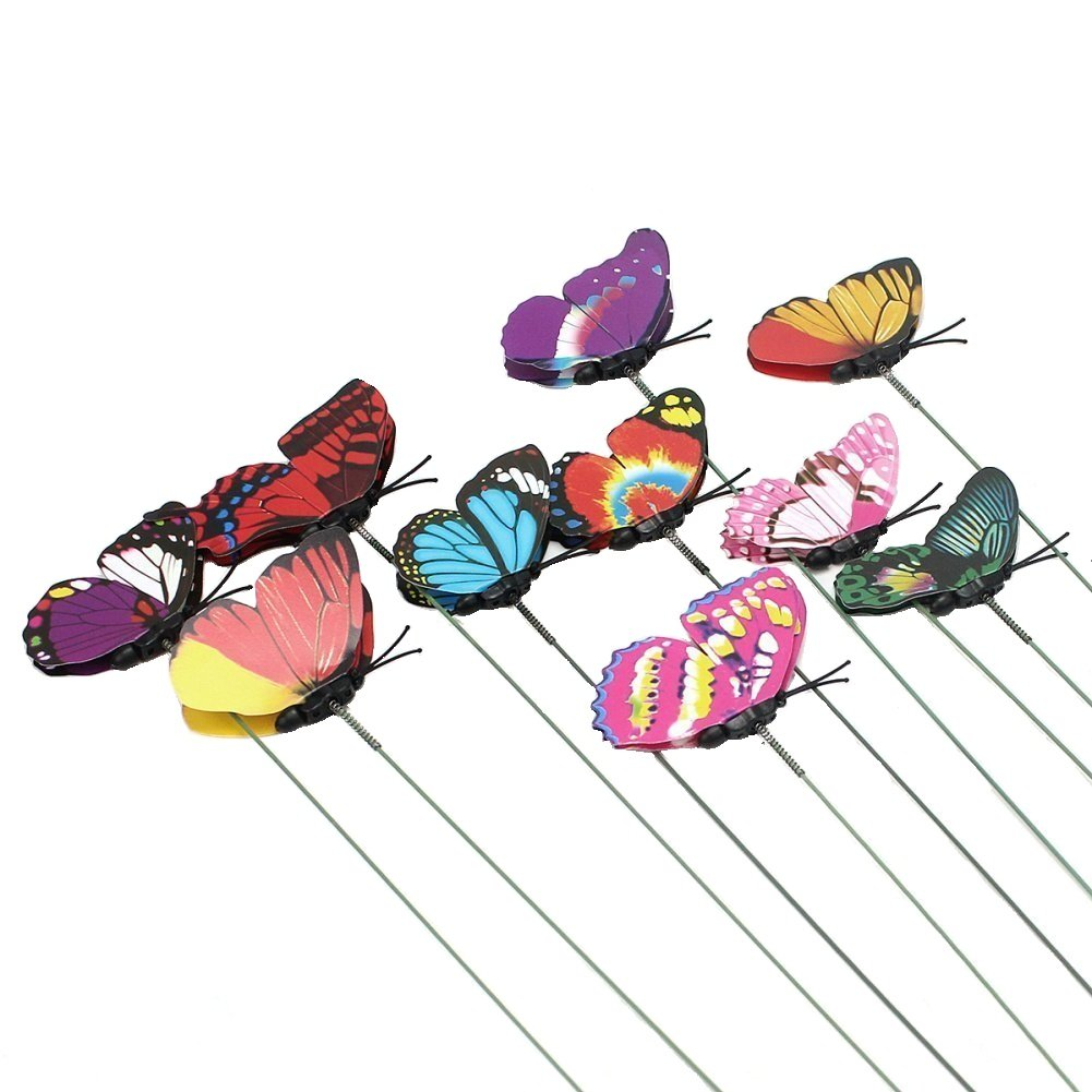 Homgaty 10Pcs Colourful Garden Butterflies On Sticks Plant Decoration Craft (9CM)