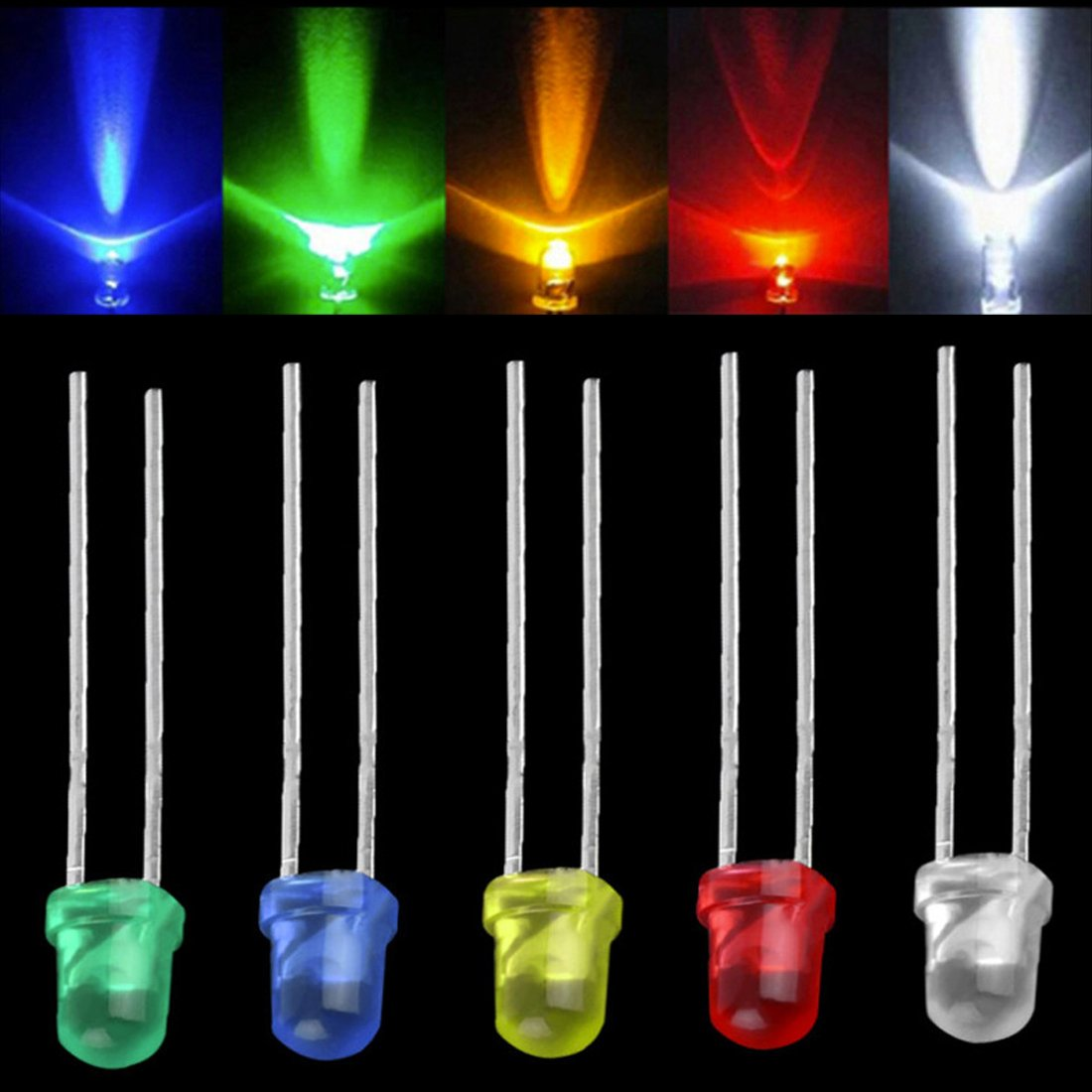 3/mm 5/colori LED diodi lampada testa rotonda 100pcs 200OHM resistori inclusi 5/colori x 150PCS colori assortiti Milky Light Waycreat 750PCS