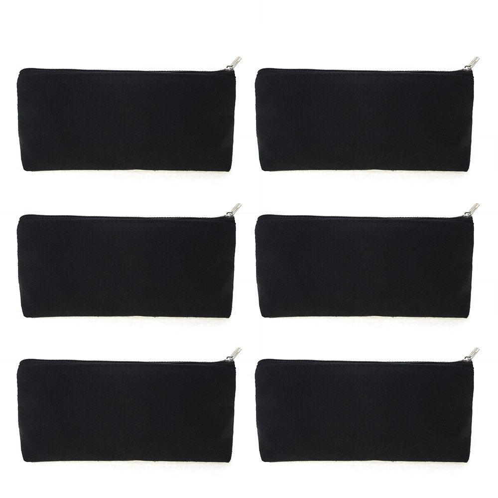 Aspire 12PCS 100% Cotton 12oz Canvas Makeup Bags, Black Pencil Bags