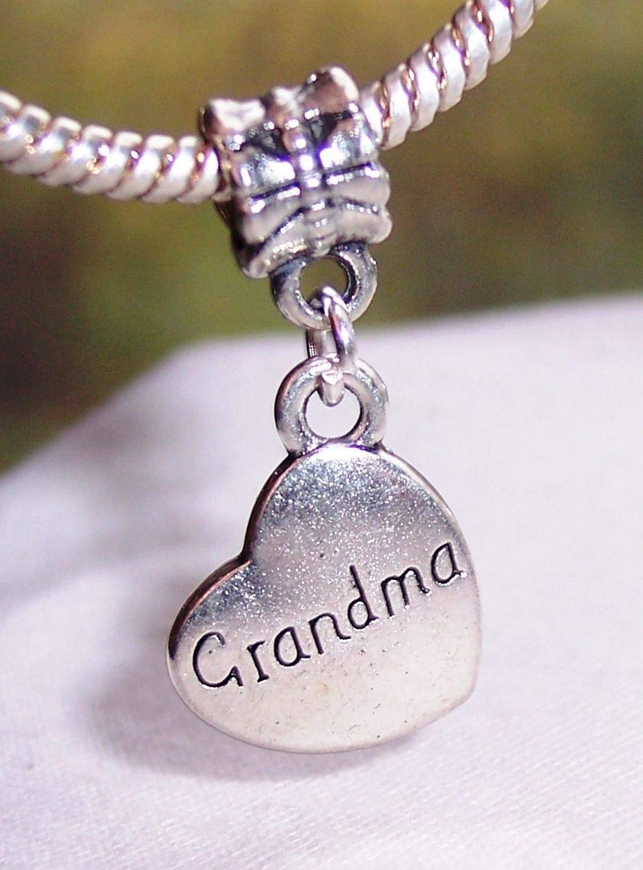 Grandma Sideways Heart Granddaughter Gift Dangle Charm for European Bracelet