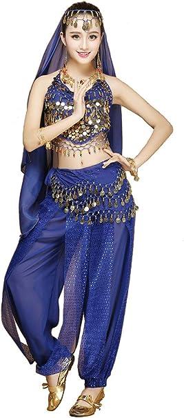 Grouptap Completo da 2 Pezzi in Costume da Danza del Ventre a Tema Indiano di Bollywood per Donne con Top e Pantaloni 150-170cm, 30-60kg