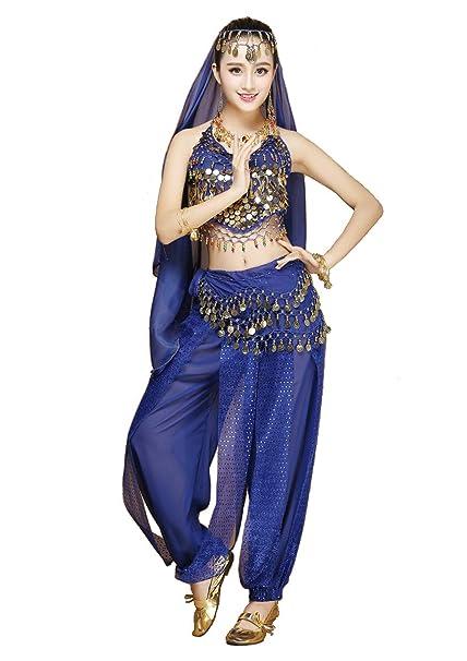 20979184b13d Danza del Vientre de Las Mujeres de 4 Piezas del Traje del Equipo con los  Mejores Pantalones de Velo de la Cabeza Bufanda de la Cadera para Bailar ...
